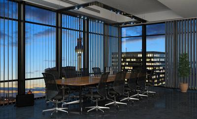 Meetingraum-in-einem-Bürogebäude-in-Berlin-bei-Nacht---Bürofläche---Immobilie